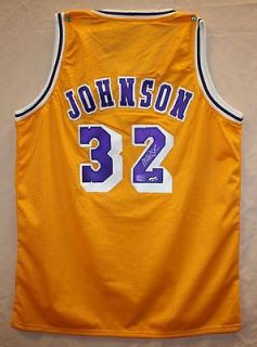 Magic Johnson Autographed LA Lakers Gold Jersey Authenticated by AAA