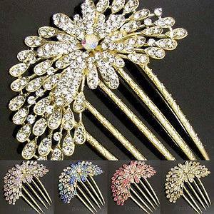 Item  rhinestone crystal flower French twist hair comb