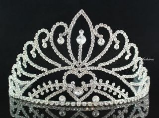 MAJESTIC RHINESTONE CROWN TIARA WITH HAIR COMBS PAGEANT BRIDAL PROM