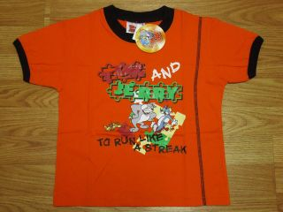 Tom & Jerry Boy Cotton T Shirt #094 31 Orange Size 8 age 6 8