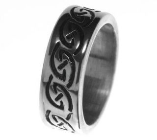 Alpaca Silver Ring R4 with handmade Oxidised Celtic knot carvings US