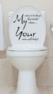 Toilet Seat Stickers Decal 12 Colour Choices Quote Your Aim Will Help