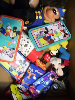 Lot Mickey Mouse Disney items pencil boxes, dolls, spoons see list