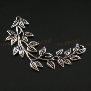 4Pcs Tibetan Silver Big Leaves Branches Charm Pendants Connectors