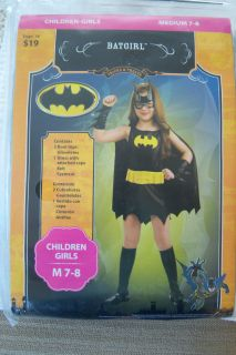 NEW TRICKS & TREATS, BATGIRL DRESS AND EYE MASK SIZE CHILDREN GIRLS