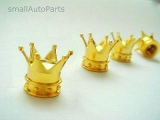 Yellow Gold Crown Tire/Wheel Stem Air Valve CAPS set car truck hot