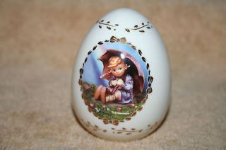 Umbrella Girl ivory colored egg MJ Hummel Danbury Mint 1993