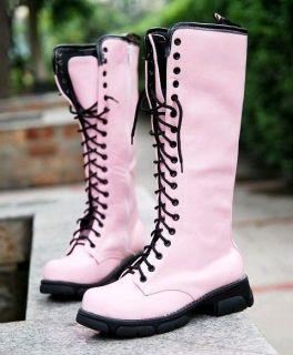 Lace Up Punk Rock Mid Calf Military Combat Boots #107