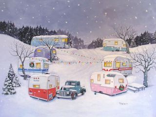 Vintage Travel Trailer Airstream Spartan Terry Nomad RV CHRISTMAS NOTE