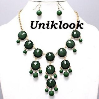 Necklace Earrings Bubble Green Emerald Gold Statement Fashion Jewelry