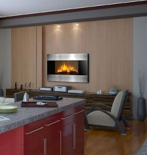 Electric Fireplace Wall Mounted Promo Stainless Steel Black Panel 36