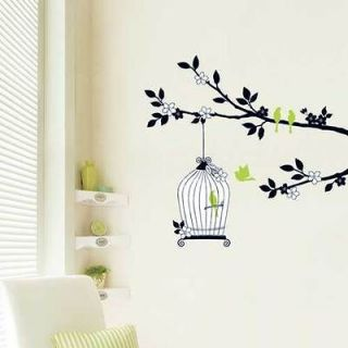 LWST 11 BIRD CAGE TREE DECO MURAL WALL PAPER STICKER BRINGBRINGSHOP