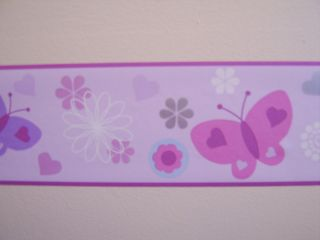 PINK GIRLS BUTTERFLY WALLPAPER BORDER SELF ADHESIVE 10 Meter