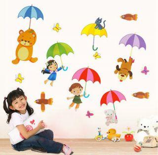 New Umbrella Kids & Animals Wall Art Cute Decal Wall Sticker
