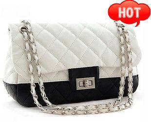 White Shoulder Tote Handbag Purse Bag Clutch Evening Lady Women Pu