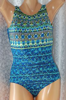 Beach Native Tummy Control High Neck Swimsuit Blue/Multi Sizes 8 10 12