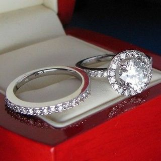 ENGAGEMENT RING WEDDING BAND 14K SOLID WHITE GOLD VINTAGE STYLE