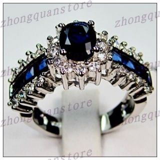 Jewelry Bland new sapphire ladys 10KT white Gold Filled Ring sz8/10