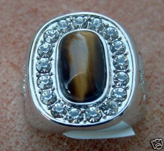 TIGER EYE Russian w/CZ mens ring 18k white gold overlay size 10
