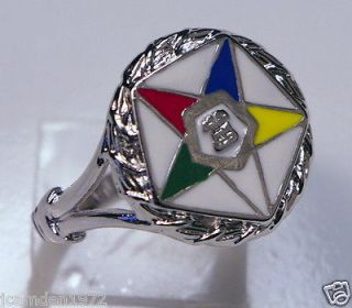 Masonic ladies OES Order of the Eastern Star White Gold Overlay size 9