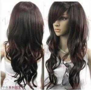 brown curl womens wig like real hair+cap+gift+ weaving cap(gift