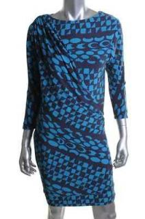 Donna Morgan NEW Blue Matte Jersey Printed Side Drape Toga Wear to
