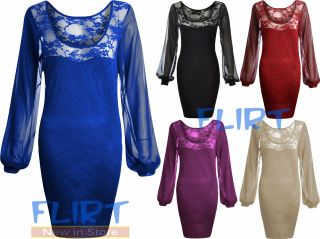 Womens Lace Floral Dress Ladies Chiffon Sleeve Sexy Top Bodycon Party