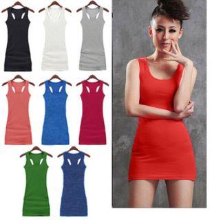 Colors Womens Casual Solid vest dress vest tops long T shirt Dress