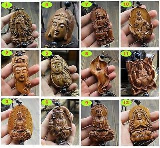 Wood carving statue Chinese Buddha kwan yin amulet sculpture various