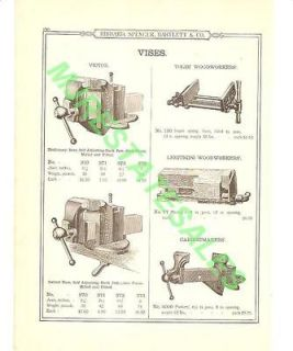 1899 Antique Parker Massey Woodworkers Vise AD