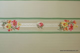 1940s Vintage Wallpaper Border mint green with lace pink and yellow