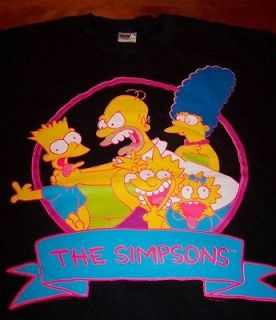 VINTAGE THE SIMPSONS FAMILY T Shirt MEDIUM NEW Homer Bart Lisa Marge