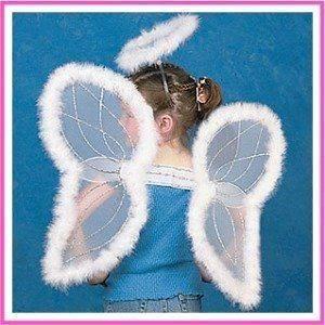 INDIVIDUAL   White Marabou Trimmed Angel Wings & Halo Headband