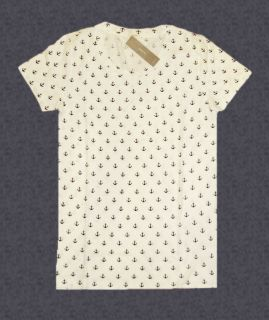 NEW J CREW ReTaiL ANCHORS AWEIGH Retro print Tee Shirt Top ivory xs
