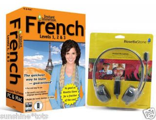 NEW Language Software Instant Immersion French AND Rosetta Stone USB