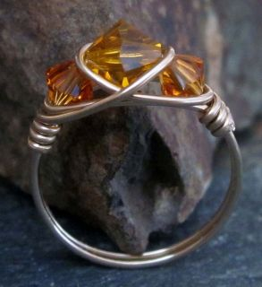 Amber Swarovski Crystal Gold Ring   14K GF   All Sizes Available