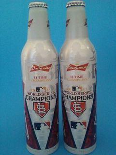 St Louis Cardinals World Series 2011 Budweiser Aluminum Bottles Empty