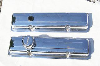 Vintage small block Chevy chrome valve covers and Moroso chrome