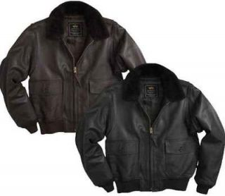 Alpha Industries G 1 Leather Naval Flying Jacket   Black or Brown