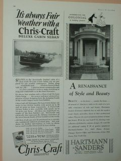 1928 1929 CHRIS CRAFT BOAT ADS CABIN SEDAN AND 38 CRUISER CHRIS