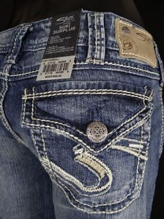 Womens SILVER Jeans Flap Pocket Stitched SUKI Surplus Curvy Boot Cut