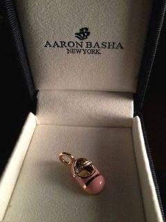BNIB AARON BASHA 18K yellow gold & diamond pink enamel baby shoe NO