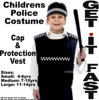 Boys Girls Police Cop Protection Vest Fancy Dress 4 14