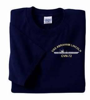 USS ABRAHAM LINCOLN CVN 72 Emb Military USN Navy T Shirt T Shirt (S