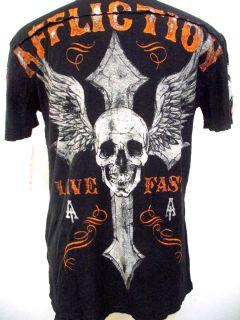 AFFLICTION LIVE FAST Henley V Neck Mens T Shirt DISTRESSED LIVE FAST