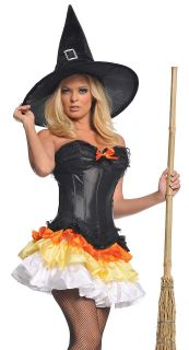 Sexy Candy Corn Witch Outfit Womens Halloween Costume