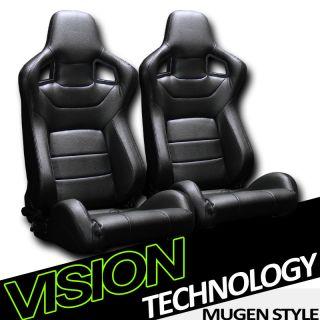Version 3 2pc MU Style JDM Black PVC Leather Racing Bucket Seats
