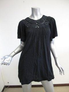 Phillip Lim Black Short Sleeve Crochet Neck Mini Dress S