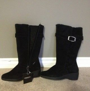 London Fog Black Suede Faux Fur Lined Mid Calf Wedge Boots 9.5 Monica