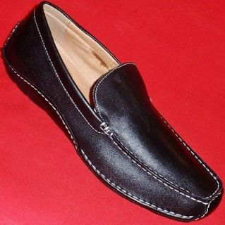 NEW Mens APT. 9 ROB Black Leather Loafers Slip On Casual/Dress Shoes